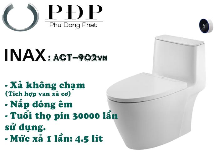Bồn cầu 1 khối Inax ACT-902VN xả không chạm, sản phẩm mới của Inax